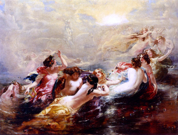William Edward Frost Sirens And The Night - Canvas Art Print