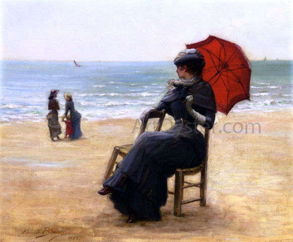 Edouard Bisson Sitting by the Sea - Canvas Art Print
