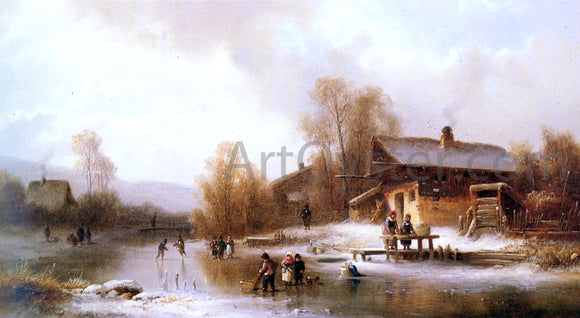 Anton Doll Skaters and Washerwomen in a Frozen Landscape - Canvas Art Print
