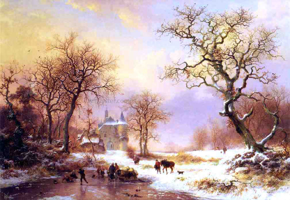 Frederk M Kruseman Skaters in a Winter Landscape - Canvas Art Print