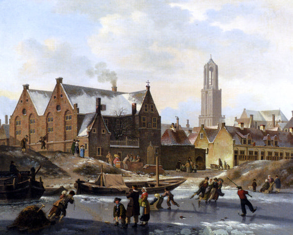 Jan Hendrik Verheijen Skaters on a Frozen Canal - Canvas Art Print