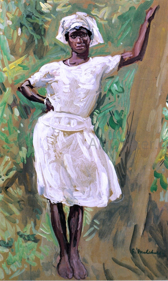 Gari Melchers Sketch of Young Black Woman in White Dress and Hat - Canvas Art Print