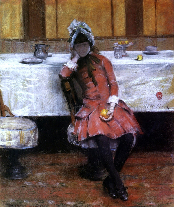 William Merritt Chase Sketch on a Young Girl on Ocean Steamer - Canvas Art Print