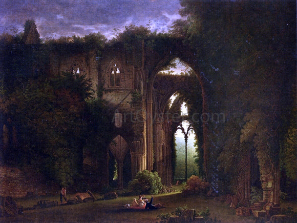 Samuel Colman Sketching the Ruins of Tintern Abbey - Canvas Art Print