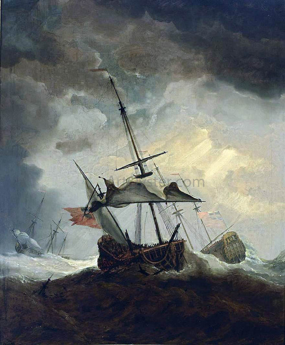 The Younger Willem Van de  Velde Small English Ship Dismasted in a Gale - Canvas Art Print