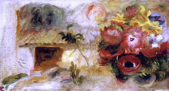 Pierre Auguste Renoir Small House, Buttercups and Diverse Flowers (study) - Canvas Art Print