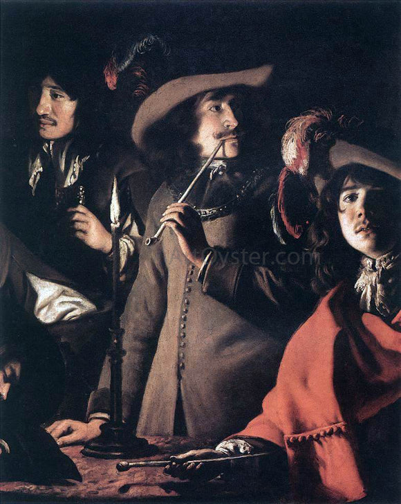 Le nain Brothers Smokers in an Interior (detail) - Canvas Art Print