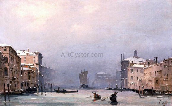 Ippolito Caffi Snow and Fog on the Grand Canal - Canvas Art Print
