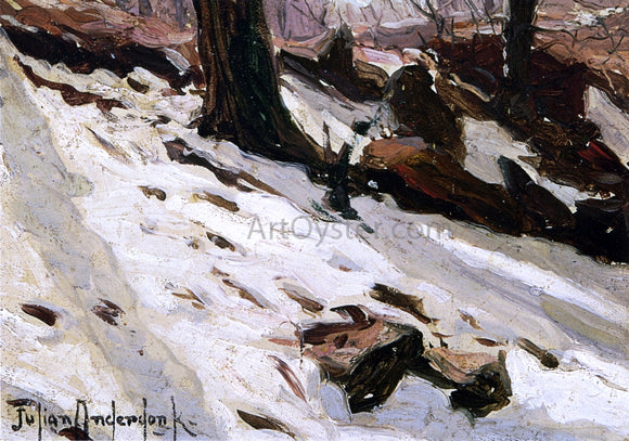 Julian Onderdonk Snow near the Cave, Central Park, New York - Canvas Art Print