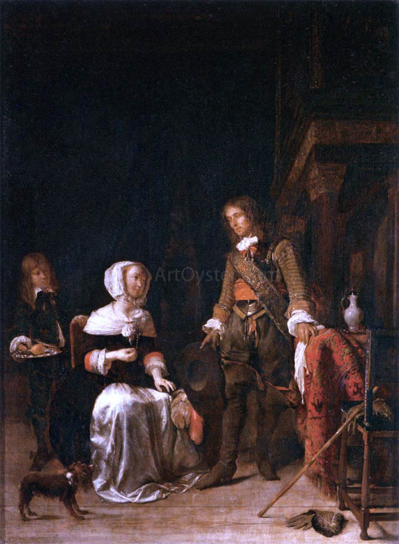 Gabriel Metsu Soldier Paying a Visit to a Young Lady - Canvas Art Print