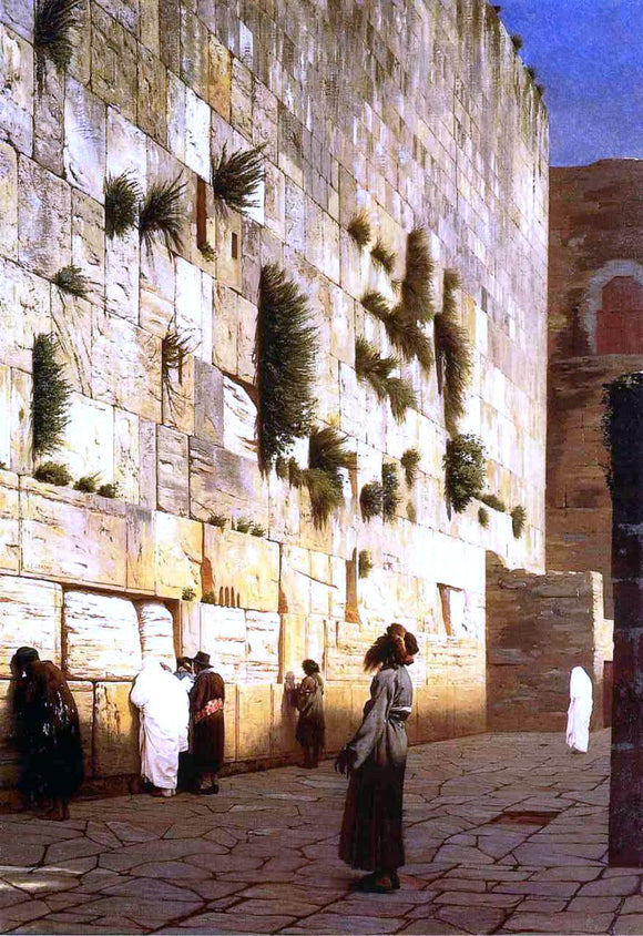 Jean-Leon Gerome Solomon's Wall, Jerusalem (also known as The Wailing Wall) - Canvas Art Print