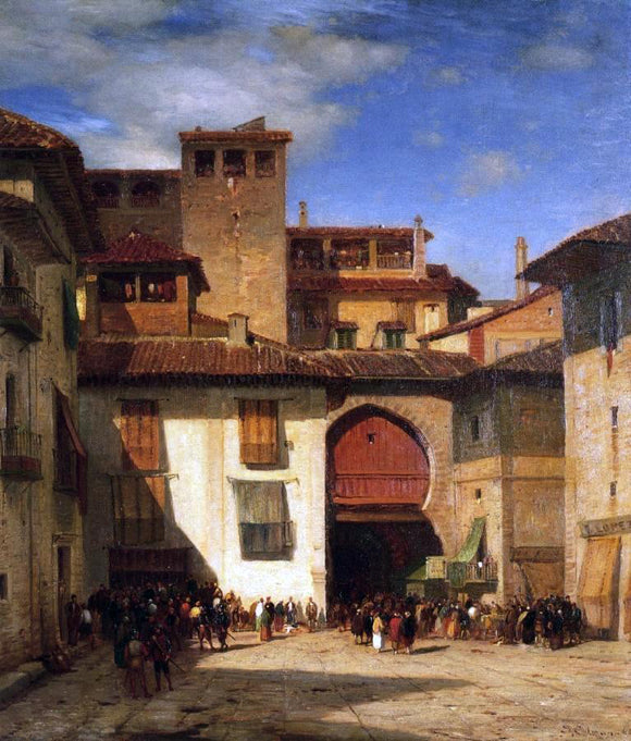 Jr. Samuel Colman Spanish Market Place - Canvas Art Print