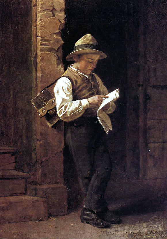 Thomas Waterman Wood Spelling it Out (also known as The Shoeshine Boy) - Canvas Art Print