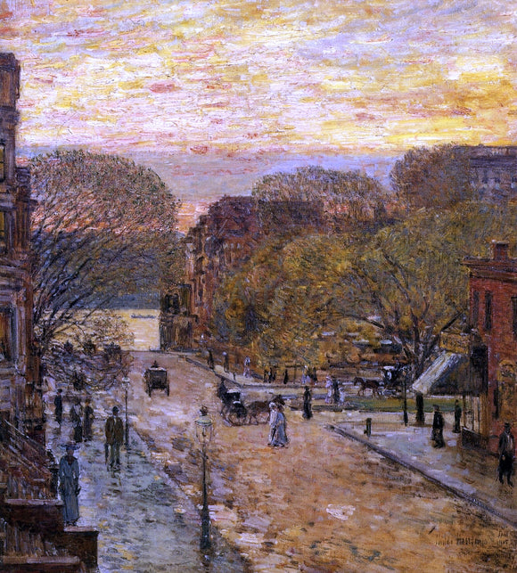 Frederick Childe Hassam Spring on West 78th Street - Canvas Art Print
