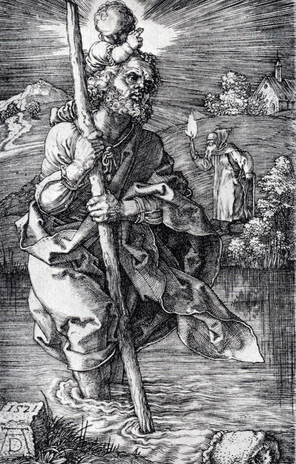Albrecht Durer St. Christopher Facing To The Right - Canvas Art Print