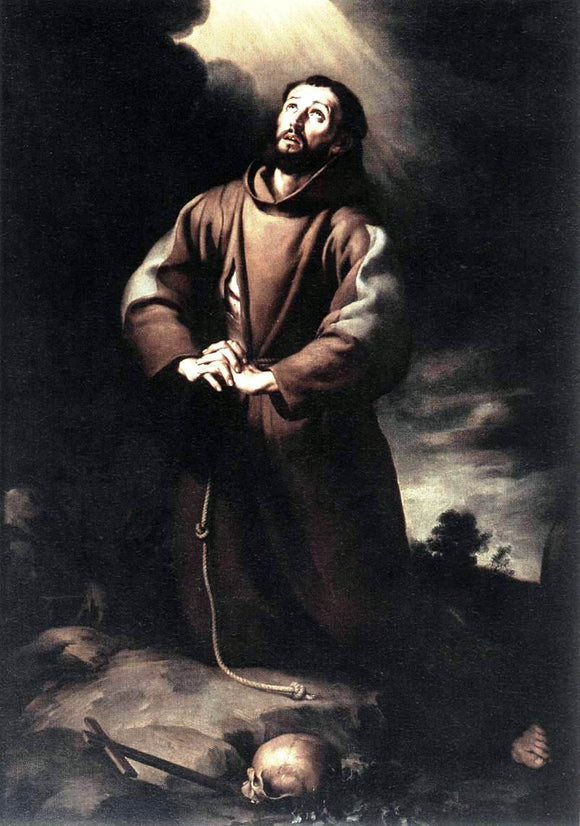 Bartolome Esteban Murillo St Francis of Assisi at Prayer - Canvas Art Print
