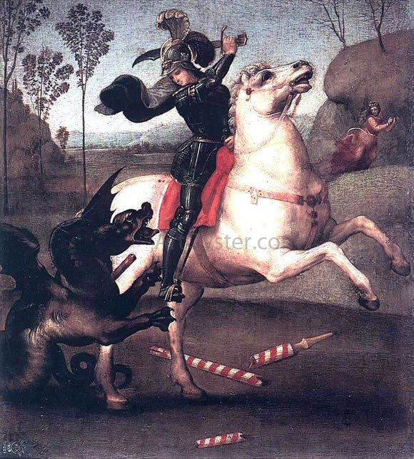 Raphael St George Fighting the Dragon - Canvas Art Print