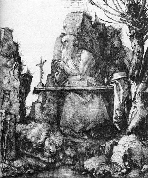 Albrecht Durer St Jerome by the Pollard Willow - Canvas Art Print