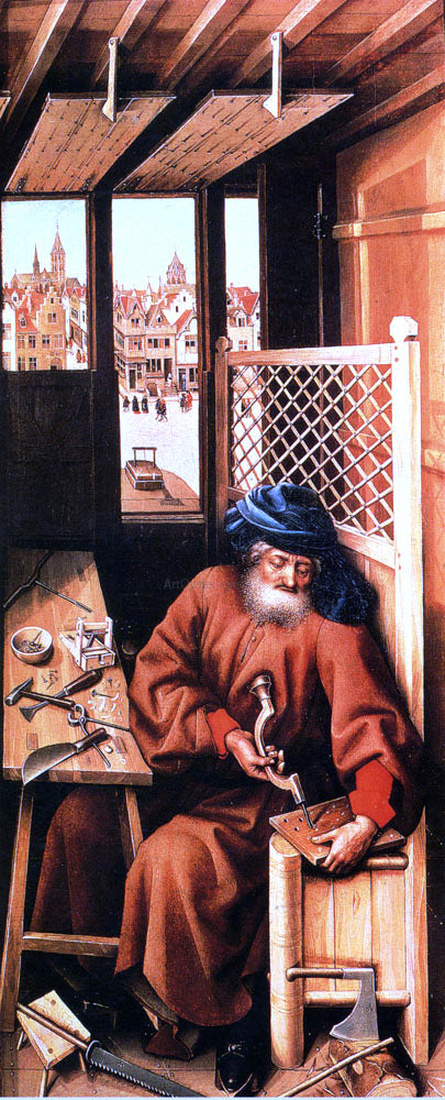 Robert Campin St. Joseph Portrayed As A Medieval Carpenter (Center Panel Of The Merode Altarpiece) - Canvas Art Print