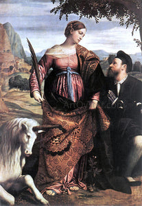 Moretto Da Brescia St Justina with the Unicorn - Canvas Art Print