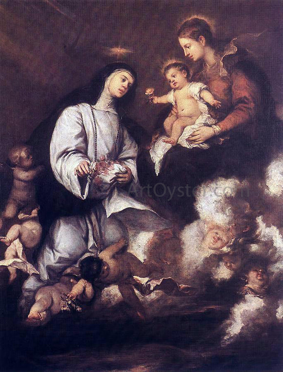 Jose Antolinez St Rose of Lima Before the Madonna - Canvas Art Print