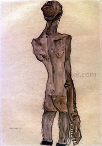 Egon Schiele Standing Male Nude, Back View - Canvas Art Print