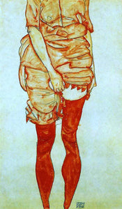 Egon Schiele Standing Woman in Red - Canvas Art Print