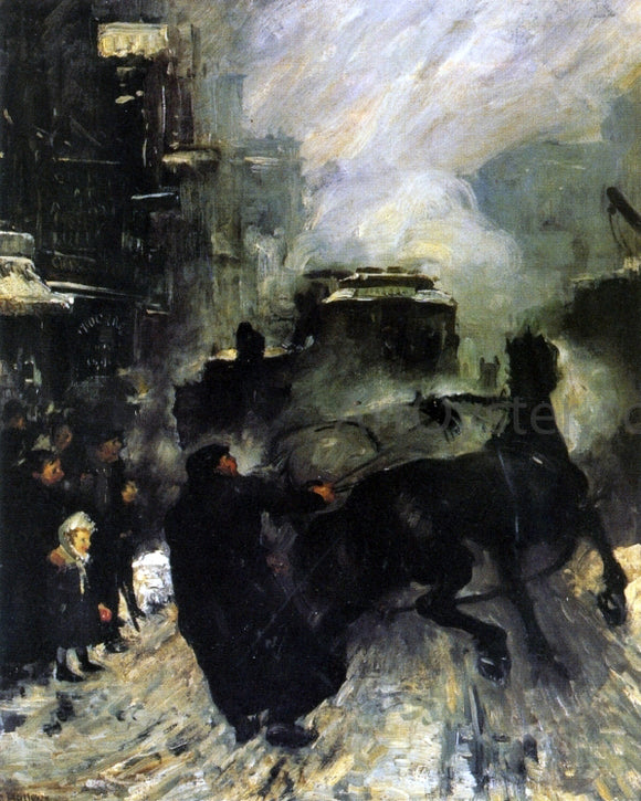 George Wesley Bellows Steaming Streets - Canvas Art Print