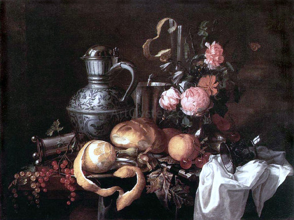 Jan Davidsz De Heem Still Life - Canvas Art Print