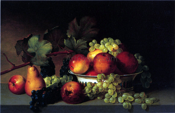 James Peale Still Life: Apples, Grapes, Pear - Canvas Art Print