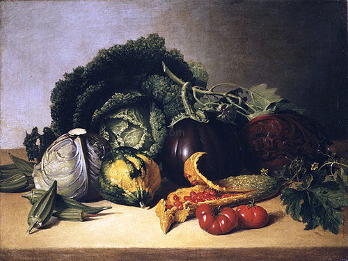 James Peale Still Life: Balsam Apple and Vegetables - Canvas Art Print