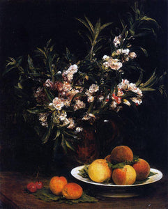 Henri Fantin-Latour Still Life: Balsimines, Peaches and Apricots - Canvas Art Print