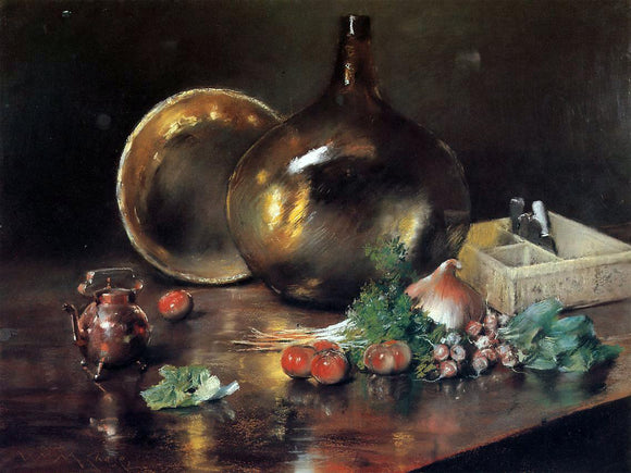 William Merritt Chase Still Life - Brass and Glass - Canvas Art Print