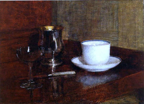 Henri Fantin-Latour Still Life: Glass, Silver Goblet and Cup of Champagne - Canvas Art Print