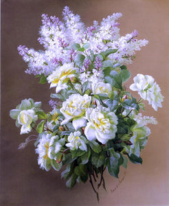 Raoul Paul Maucherat De Longpre Still Life: Lilacs and Roses - Canvas Art Print