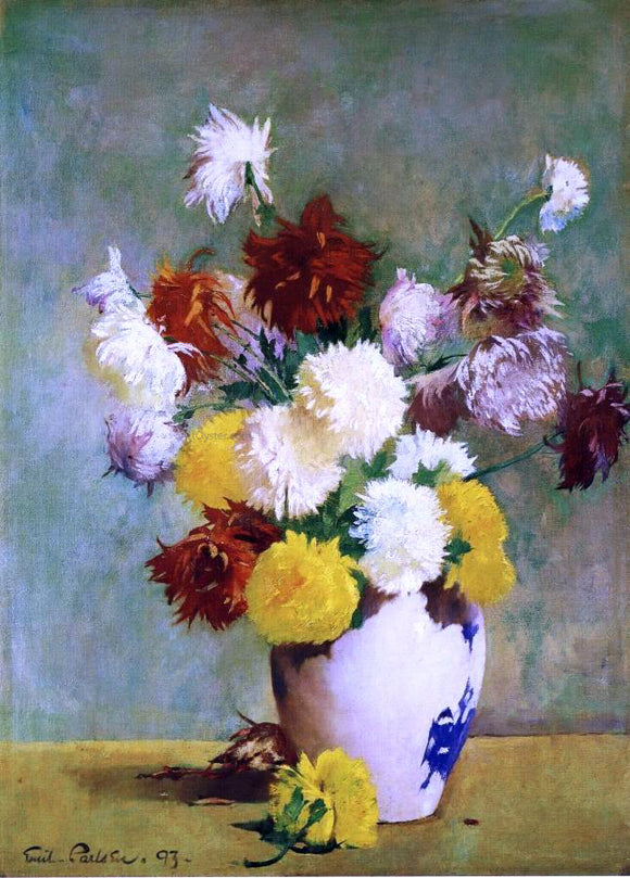Emil Carlsen Still Life of Chrysanthemums in a Canton Vase - Canvas Art Print