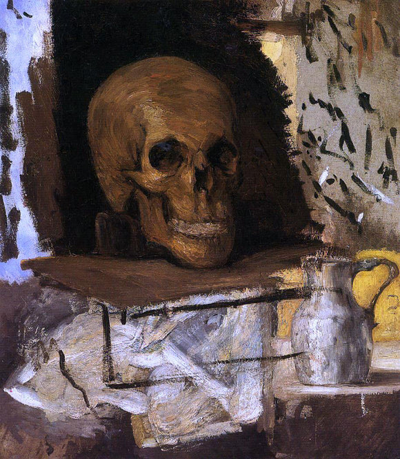 Paul Cezanne Still Life: Skull and Waterjug - Canvas Art Print