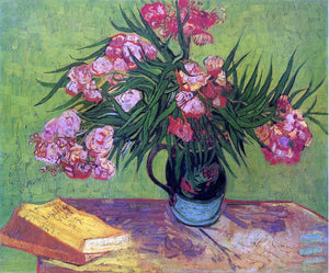 Vincent Van Gogh Still Life: Vase with Oleanders and Books - Canvas Art Print