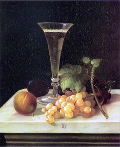 Morston Ream Still Life Wine Glass and Fruit - Canvas Art Print