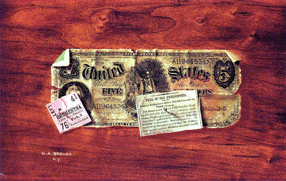 Nicholas Alden Brooks Still Life with $5 Bill, Ticket Stub and Newspaper Clipping - Canvas Art Print