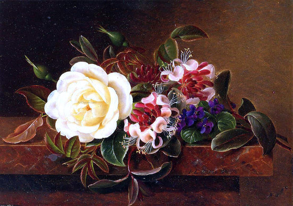 Johan Laurentz Jensen Still Life with a Rose and Violets on a Marble Ledge - Canvas Art Print