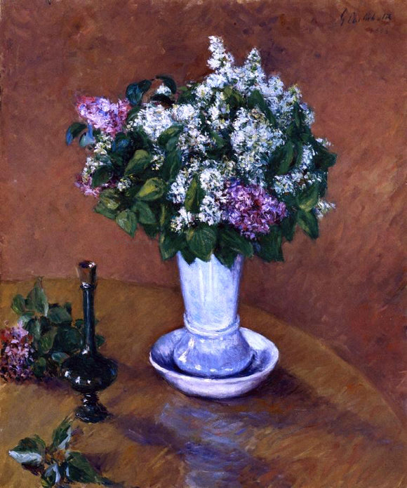 Gustave Caillebotte Still LIfe with a Vase of Lilacs - Canvas Art Print