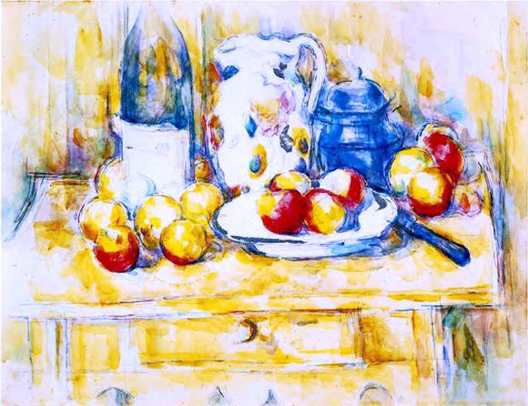 Paul Cezanne Still Life with Apples, a Bottle and a Milk Pot - Canvas Art Print