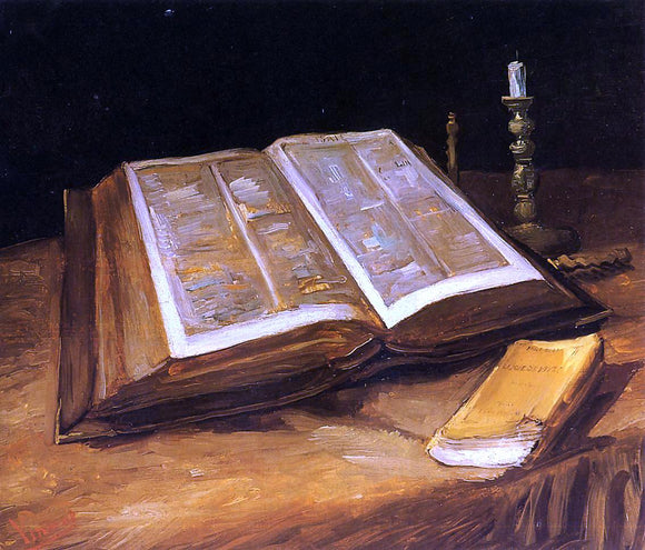 Vincent Van Gogh Still Life with Bible - Canvas Art Print