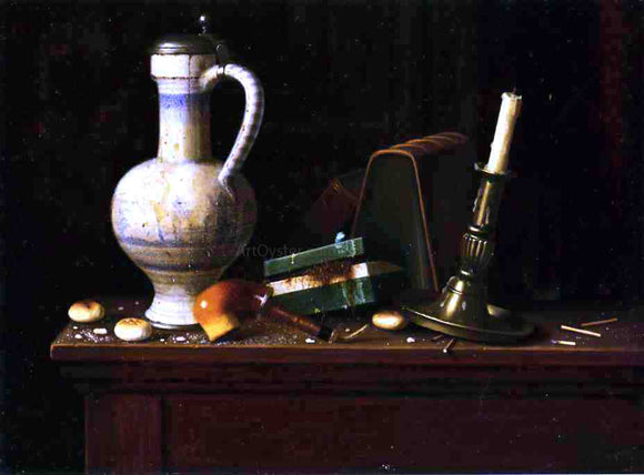 William Michael Harnett Still Life with Blue and White Pitcher, Tobacco Case and Pipe - Canvas Art Print