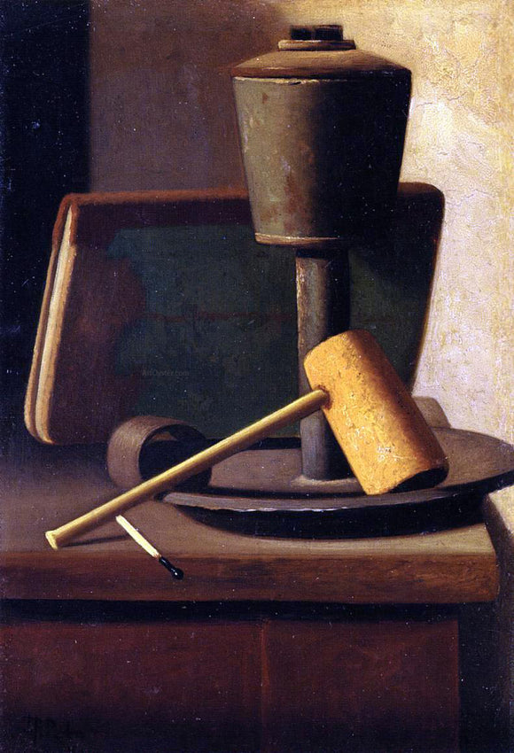 John Frederick Peto Still Life with Book, Lamp, Pipe and Match - Canvas Art Print
