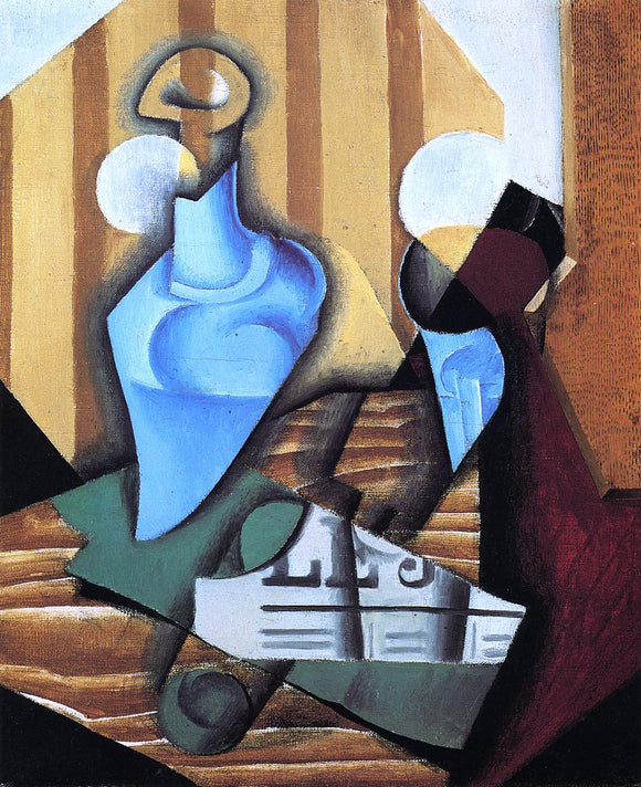 Juan Gris Still Life with Bottle and Glass - Canvas Art Print