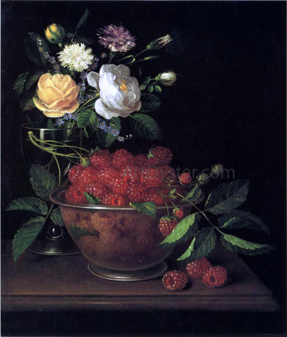 George Forster Still Life with Bowl of Raspberries - Canvas Art Print