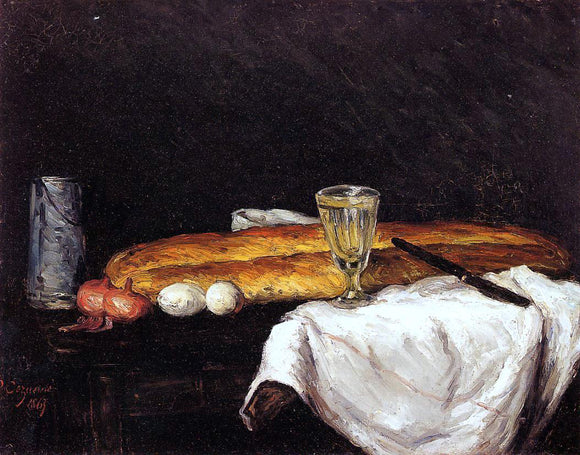 Paul Cezanne Still Life with Bread and Eggs - Canvas Art Print