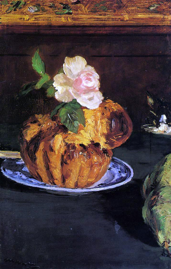 Edouard Manet Still Life with Brioche - Canvas Art Print